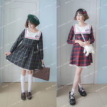 Rabbit Heart Embroidery Kawaii Girls Preppy Style Autumn Long Sleeve Dress Plaid Checks Cute Sailor Collar One-Piece Green & Red