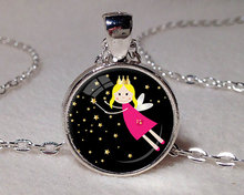 CHILDRENS FAIRY NECKLACE Fairy Pendant Child's Jewelry Black Pink Yellow Fairy Necklace Little Girl Jewelry 27mm Small Size