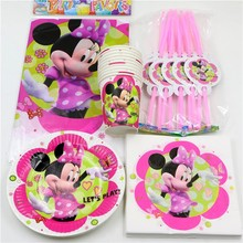 51pcs/lot Minnie mouse theme cartoon girls  birthday party  decorations party supplies  baby shower favors party set