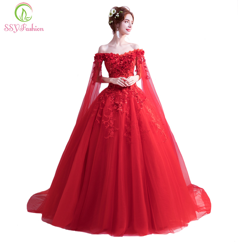 SSYFashion New The Bride Married Banquet Red Evening Dress Boat Neck with Cape Luxury Lace Flower Long Prom Party Formal Gown