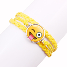New fashion jewelry Multilayer multicolor time gem bracelet children teenager Naughty lovely bracelet Leather cord bracelet(China)
