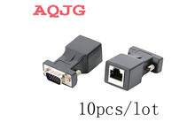 15pin VGA Female to RJ-45 Female Connector Card VGA RGB HDB Extender to LAN CAT5 CAT6 RJ45 Network Ethernet Cable Adapter(China)