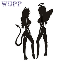 Tiptop Hot car-styling Automobile motorcycle Hot Classic Sexy Girls Sticker Anger Devil Beauty 16*11cm White Car Decal_KXL0424