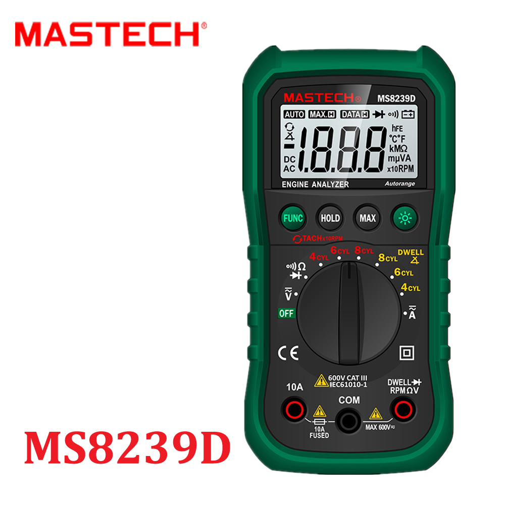 Digital Automotive multimeter car Engine Analyzer DMMS Dwell Angle/ Speed 4CYL~8CYL Continuity Tester MASTECH MS8239D<br><br>Aliexpress