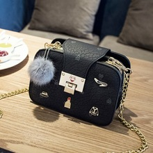 borsette 2017 new simple fashion oblique chain package Badge decoration elegant shoulder bag Ladies retro small square bag