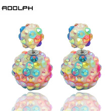 ADOLPH Jewelry  4 Colors Fashion Korea Pop Flower Crystal Cheapest Double Side Stud Earrings Big Pearl Earrings Free Ship