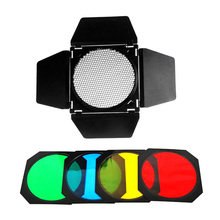 "Photo Studio Godox Large Barn Door Honeycomb Grid 4-Color Gel Filter BD-04 for 7""/18cm Standard Reflector Strobe Flashlight"