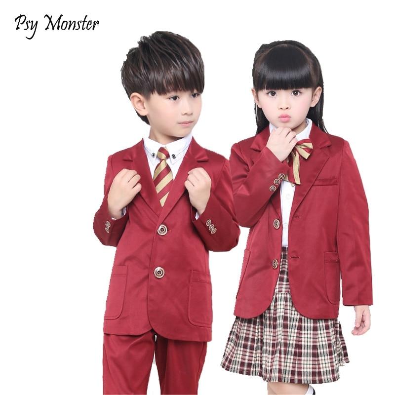 Boys Girls Clothing Sets 3Pcs Jacket + Shirt + Pants Suit Kids Formal Suit Party Performance School Uniform Wedding Sets A48<br>