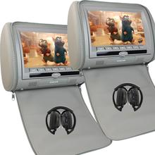 "Monitors 2x7""Pillow HD Screen zipper Car Headrest DVD Player USB FM Game Disc Remote Control+IR Wireless Headsets+two headphones(China)"