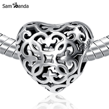Authentic Original 925 Sterling Silver Bead Charm Hollow Love Heart Beads Fit Pandora Women Bracelets Bangles DIY Charms Jewelry