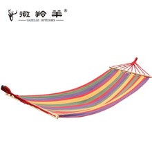 Single Canvas Hammock Portable Stripe Camping Hammock with Cotton Rope Muticolor Leisure Swing Breathable Travel Outdoor Product(China)