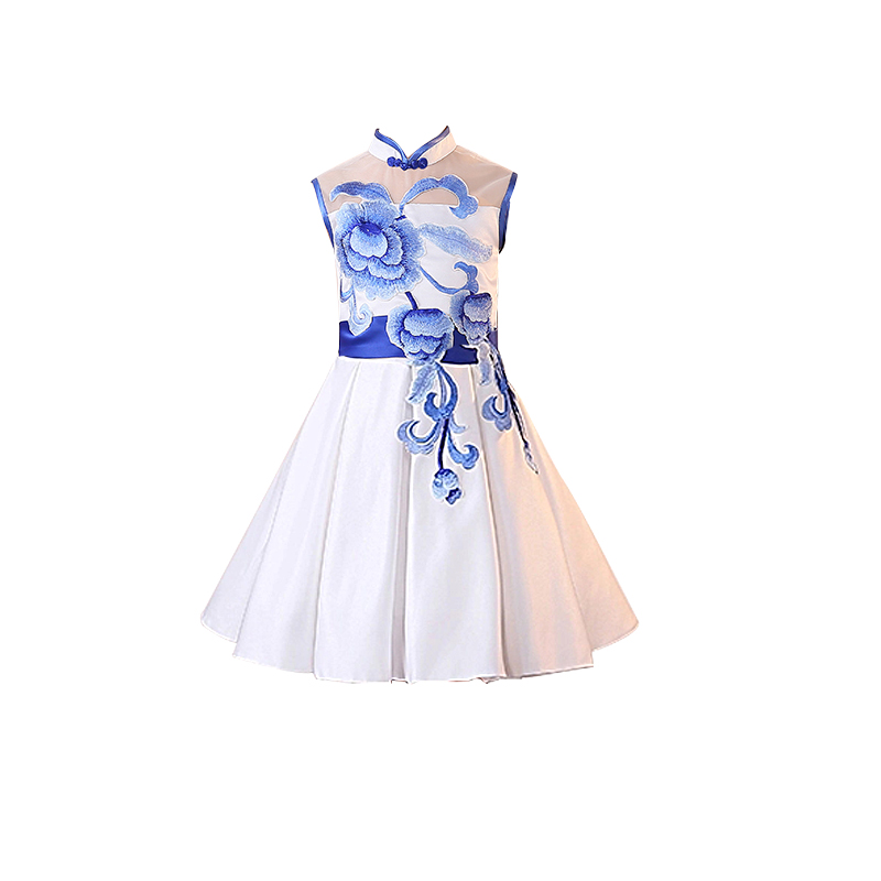2017 autumn girls blue tile print chinese style party dresses evening growns kids teens elegant floral print qipao tutu dresses<br>
