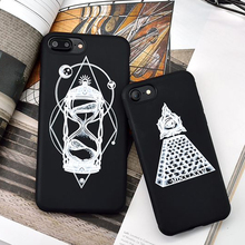 Abstract Stroke Hourglass pyramid Print Pattern Soft TPU Back Cover Coque for iPhone 7 6 6S Plus Black Phone Case Lovers Caso(China)