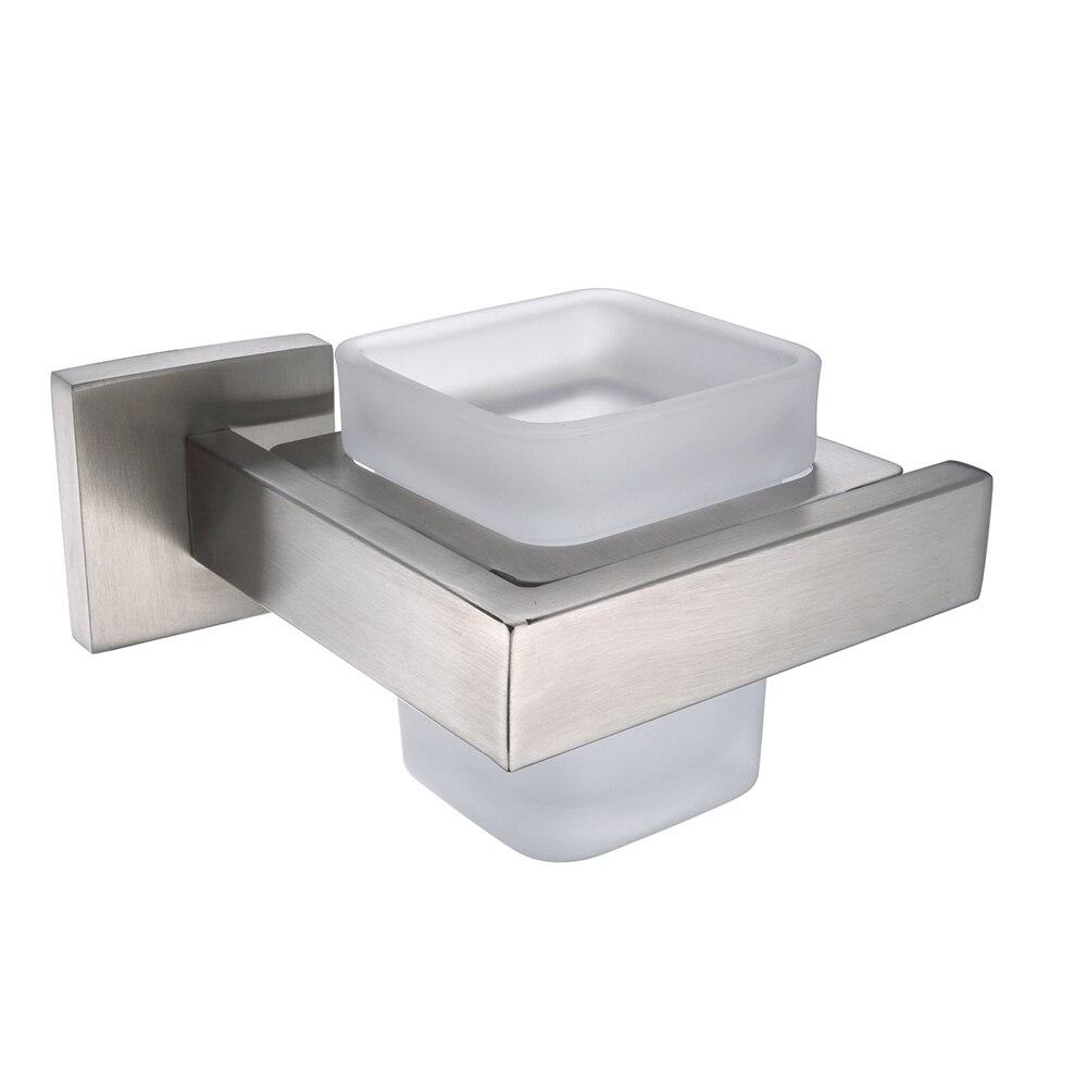 AUSWIND Modern Square Toothbrush holder Stainless Steel Bathroom Tumbler Wall Mount Bathroom Accessories G6b<br>