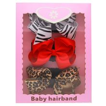 3Pcs/Set Girls Newborn Flower Bow Knot Headband Leopard Elastic Hairbands Hair Band Accessories with Gift Box(China)