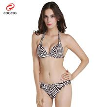 triangle top zebra-stripe printing leopard bikini metallic accessory swimwear sexy bikini set