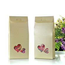 DHL 11*23+5cm Kraft Paper Box Wedding Favor Candy Gift Storage Bag Box With Clear Heart Window Food Chocolate Storage Packaging