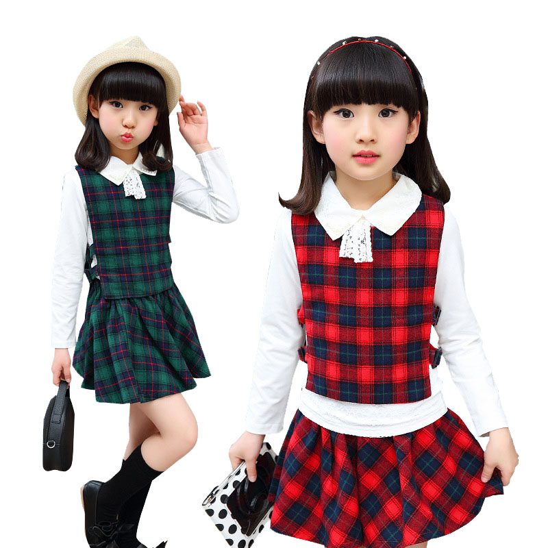 2018 Girls Plaid Skirt Suits For Children Summer Clothing Set 4-12y Kids 3pcs Teens Skirt +Vest+Bow White Long Sleeve T-shirts  <br>