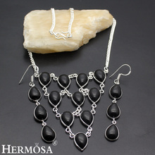 2017 Latest Holy Black Onyx Jewelry Set 925 Sterling Silver Choker Necklace & Dangle Earrings HERMOSA UNIQUE DESIGN For Womens