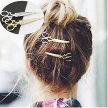 2 Pcs Women Girl Lady Hot Chic Fashion Scissors Shape Hair Clip Golden Silvery Hair Pin Hair Accessories(China)