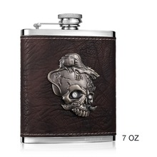 7oz Stainless Steel and PU leather Hip Flask with Hip flask funnel Portable Alcohol Flask Whiskey Liquor Flask Barware Drinkware(China)
