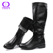 AIMEIGAO Fashion Ladies Knee High Winter Boots Soft Leather Boots Woman Black Zip Warm Fur Women Thigh High Boots Shoes(China)