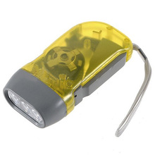 LNHF Yellow 3 LED Hand Press No Battery Wind up Crank Camping Outdoor Flashlight Light Torch