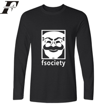 Harajuku Hip Hop T shirt Fitness Tshirt Mr Robot Fsociety Mens with Long Sleeve t shirt men soft Tee Shirt Homme men Clothing