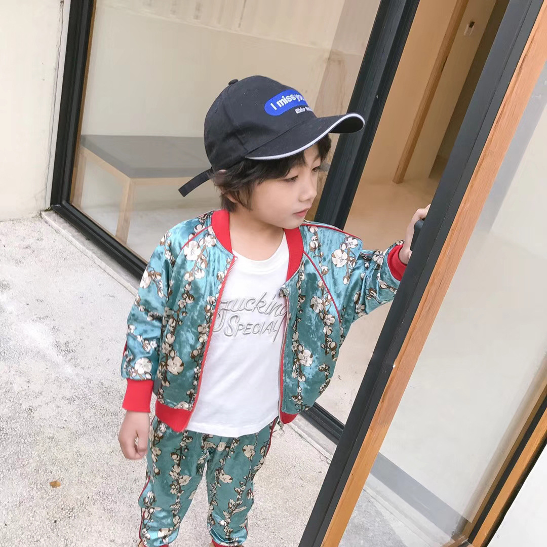 2018 spring new childrens clothing set childrens spring jacket with pants two-piece flower pattern set<br>