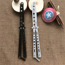 Mirrored folding balisong butterfly knife cs go trainner,dull blade no edge tool butterfly in knife,cosplay knife