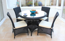 2017 4 Seater rattan dining Garden used wicker furniture Set(China)