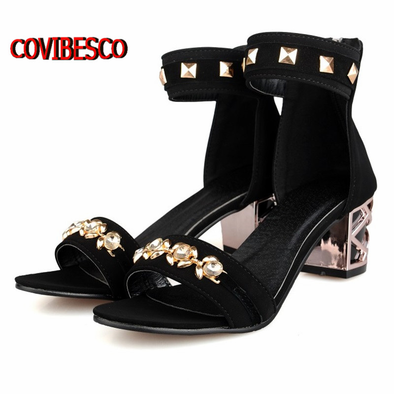 Fashion retro vintage Gladiator thick high heeled Sandals sexy rivets buckle summer Womens black red Shoes free shipping<br><br>Aliexpress