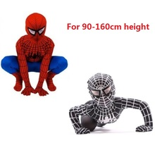 Childs black spiderman costume boy Spider-Man Kids Superhero Lycra Spiderman Hero Zentai Halloween Costume Christmas gift boys(China)