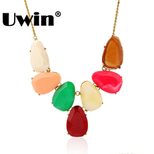 2016 Hot Hot Sale Beautiful Design Seven Large Stone Necklace Bright Color Necklace For Party Girls