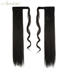SNOILITE 26inch Synthetic Long Ponytail Clip In Pony Tail Hair Extensions Wrap on Hairpieces Straight Hairstyles Natural Black