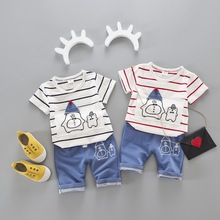 2017 Summer Child Clothing Sets boys girls cotton Clothes Suits cartoon printed Kids middle pants+striped short sleeve T shirt(China)