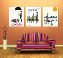2016 Quadros De Parede Canvas Painting Paris London New York Painting Office Wall Art 3 Piece Canvas Home Decoration Abstract