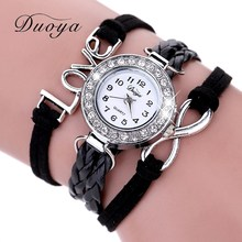 Duoya Popular Brand Watch Women Bracelet 2016 Silver Love Jewelry Weave Leather Quartz Wristwatches Hour Clock Jewelry Gift