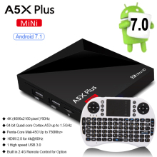 Mini A5X Plus RK3328 Android 7.1 TV BOX Quad-Core 64bit Cortex-A53 1GB 8GB Android TV BOX HDMI WiFi 4K VP9 HDR10 Media Player