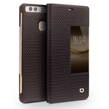 QIALINO Case for Huawei P9 Plus Phone Cases Smart View Window Grid Texture Genuine Cowhide Leather Case for Huawei P9 Plus Cover(China)