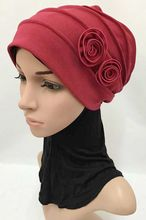 24pcs/bag  winter solid color two flowers muslim turban islamic HIJAB arab caps for women