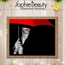 Sophie Beauty DIY Diamond Painting Embroidery Red Parasol Girl Mosaic Drawing Drill Handmade Cross Stitch Wedding Gifts Home Art