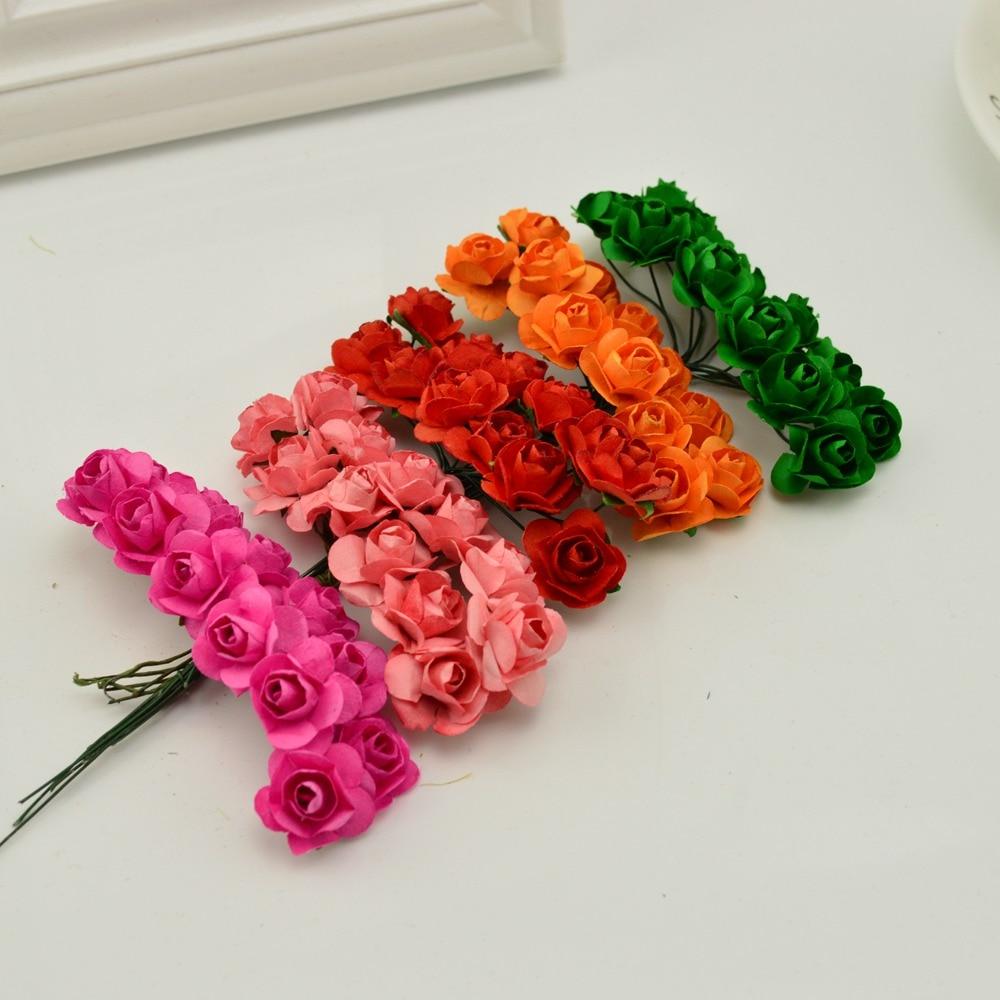 144pcs 1cm Cheap Artificial Paper Flowers For Wedding Car Fake Roses