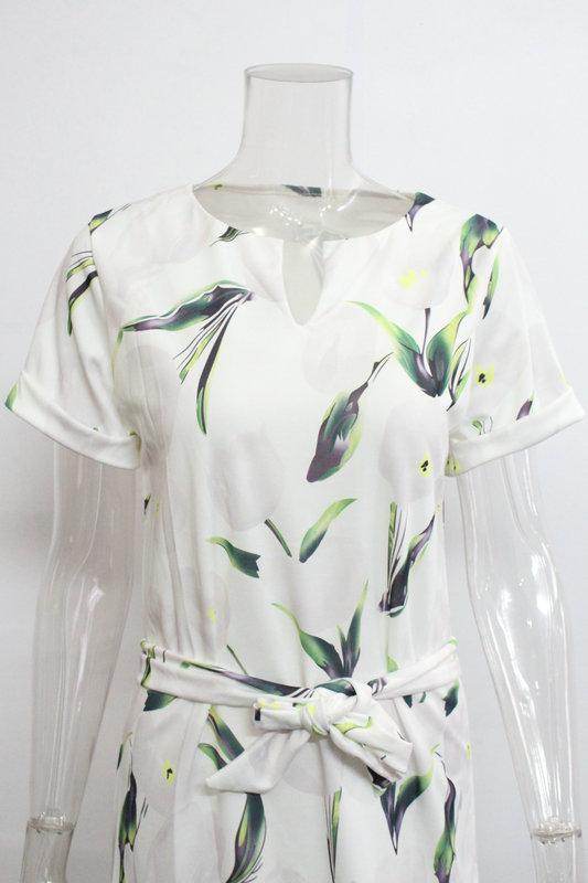 2018 Spring Summer Printed Women Dress O-Neck Hem Side Split Ladies Dresses Tie Sashes Short Sleeve Casual Sexy Female Vestidos 25