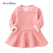 AuroraBaby Newborn Infant Toddler Baby Girls Dresses Cotton Warm Winter Fleece Ruffle Dress 2018 New Child Tutu Dress 9M-3T(China)