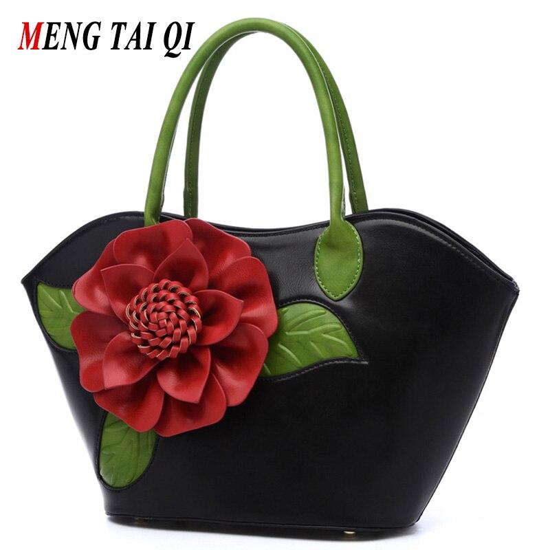 Top-Handle Bags Handbags Women Famous Brands Floral Women Messenger Shoulder Bag PU Leather Hand Bag 2017 Vintage Ladies Totes 3<br>