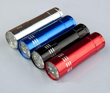 Wholesale 500pcs/lot 9 LED multifunction torch LED FlashLight with UV Cash detector can customize logo