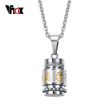 """Vnox legal rotativo oração mantra colares & pingentes pingentes de aço inoxidável colar homens jóias cadeia livre 20"""""""
