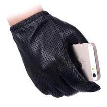 Men Fashion Gloves Genuine Sheep Leather Gloves Short Design Touch Screen Real Leather Gloves Mesh Driving Gloves LG024(China)