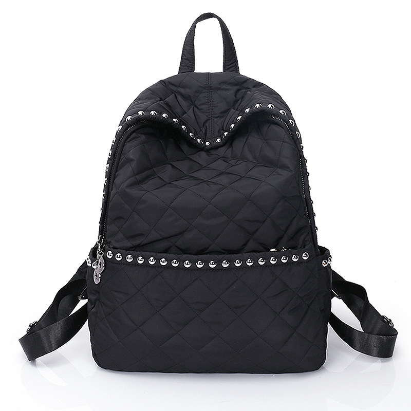 2018 Fashion Womens Rivet Backpack Nylon Female Double Shoulder Bag Ling Grid Leisure Travel Backpacks Large Capacity For Teen<br>